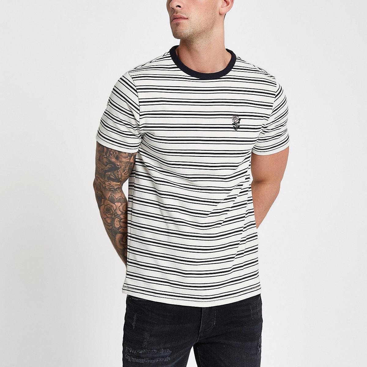 Ecru crew neck stripe print T-shirt