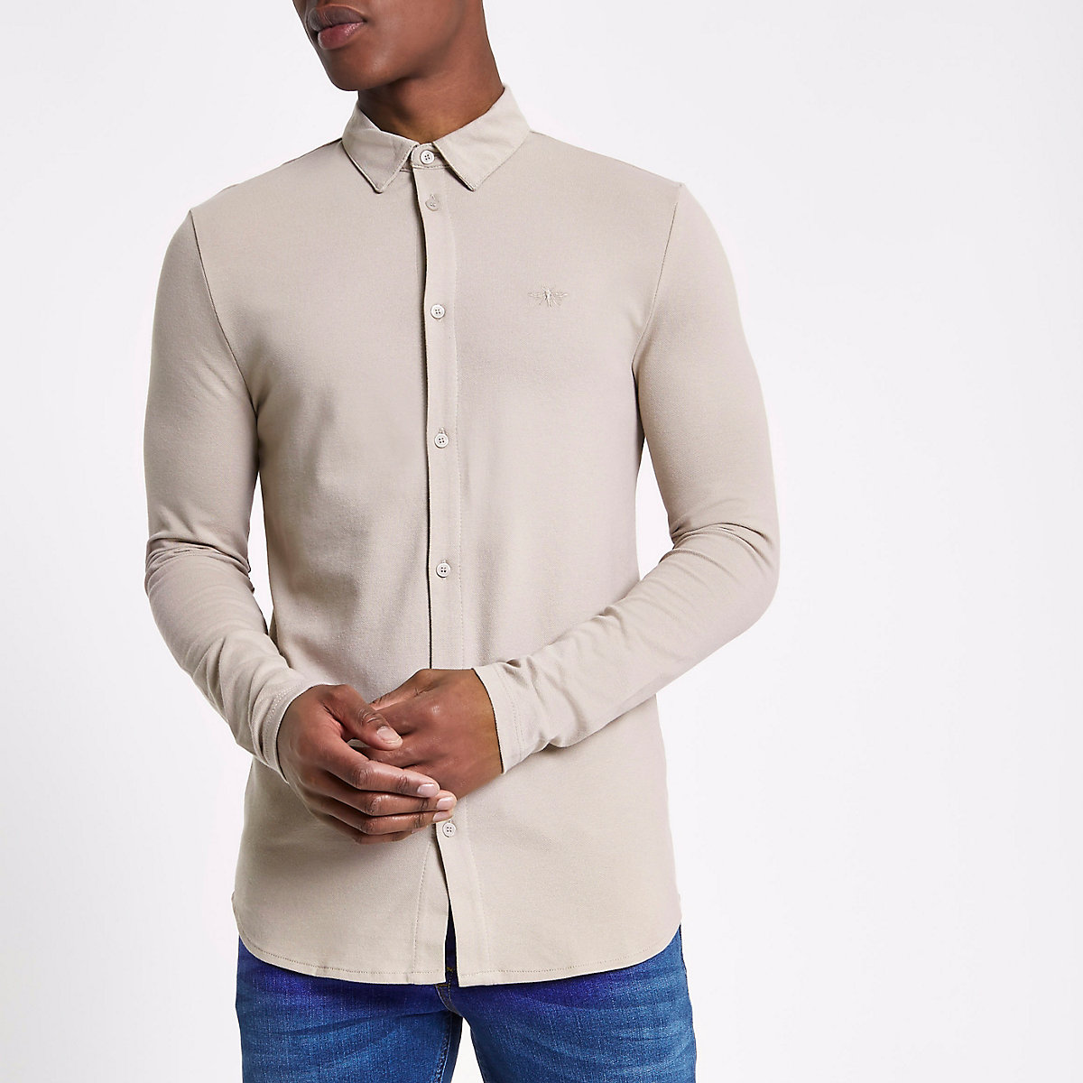 Stone pique muscle fit long sleeve shirt