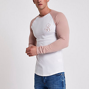 White raglan embroidred muscle T-shirt