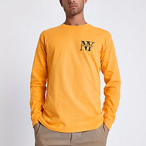 Yellow 'NYC' print slim fit long sleeve top