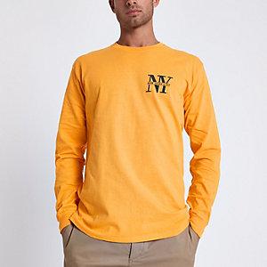 Top slim imprimé «NYC» jaune à manches longues