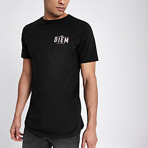 Black 'carpe diem' print slim fit T-shirt