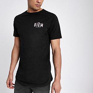 T-shirt slim à imprimé « Carpe diem » noir