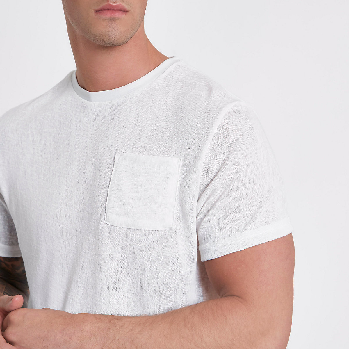 Cream knit slim fit pocket T-shirt