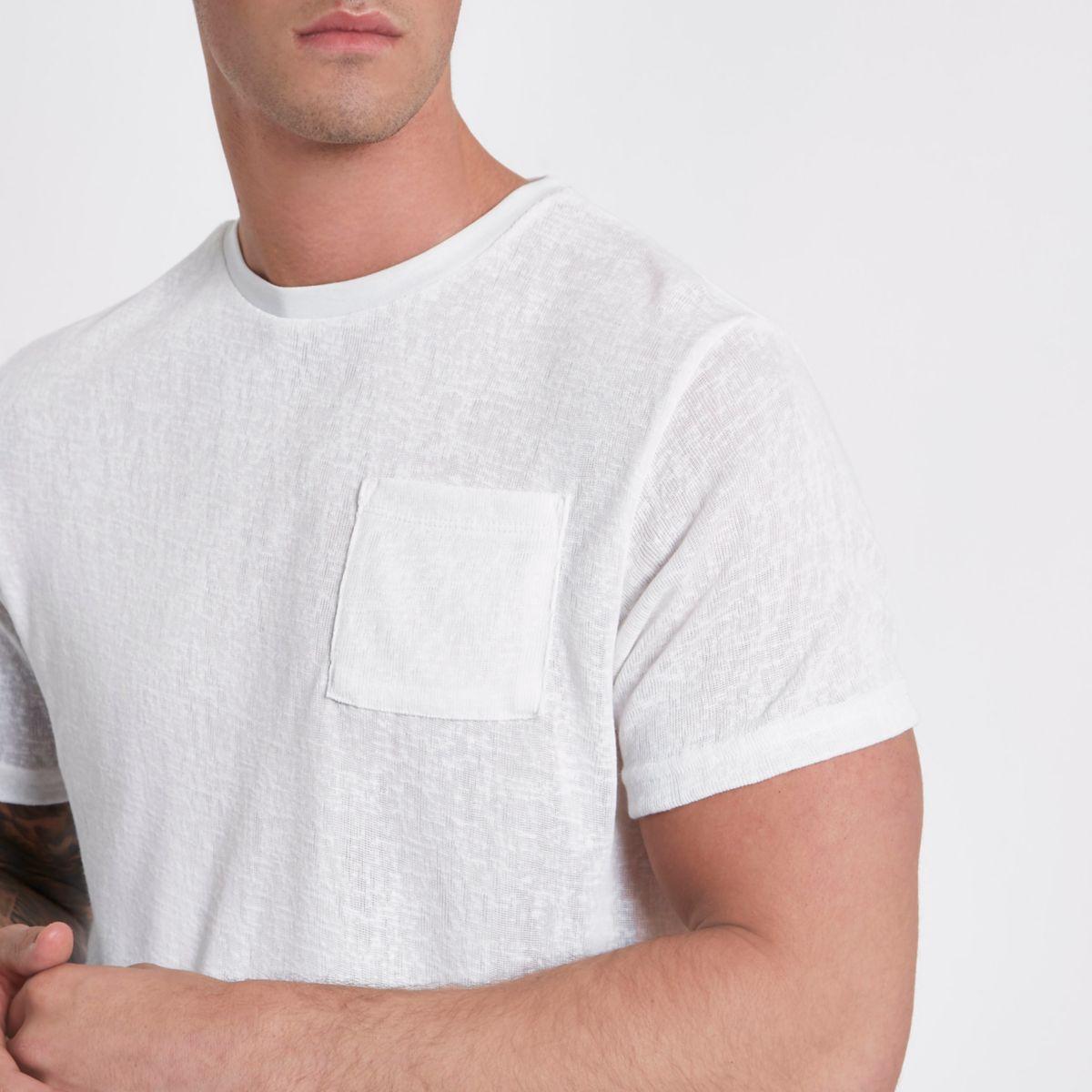 Cream knit slim fit pocket T-shirt