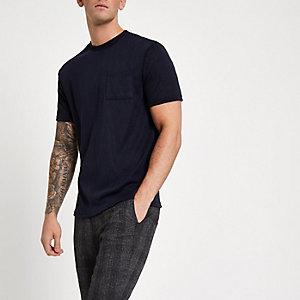 Marineblauw slim-fit T-shirt met ronde hals