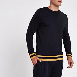 Marineblauer Slim Fit Pullover mit Rundhalsausschnitt