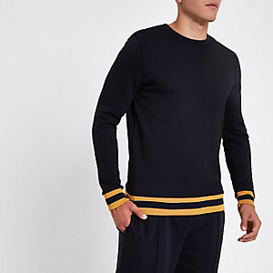 Sweat-shirt slim ras de cou bleu marine