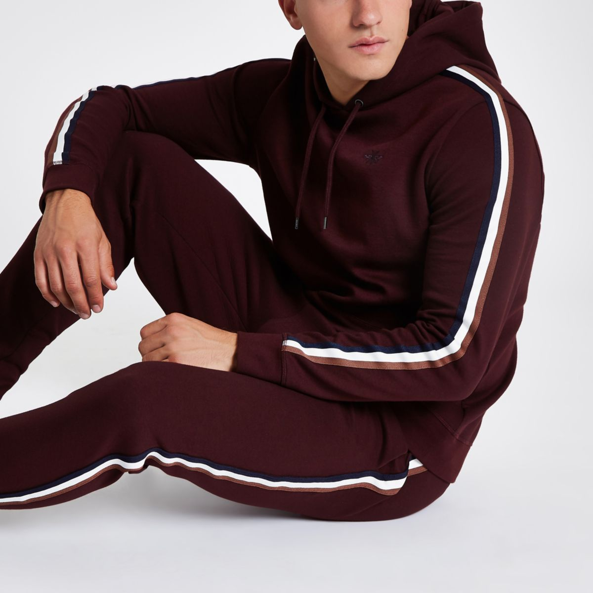 Burgundy slim fit tape sleeve hoodie
