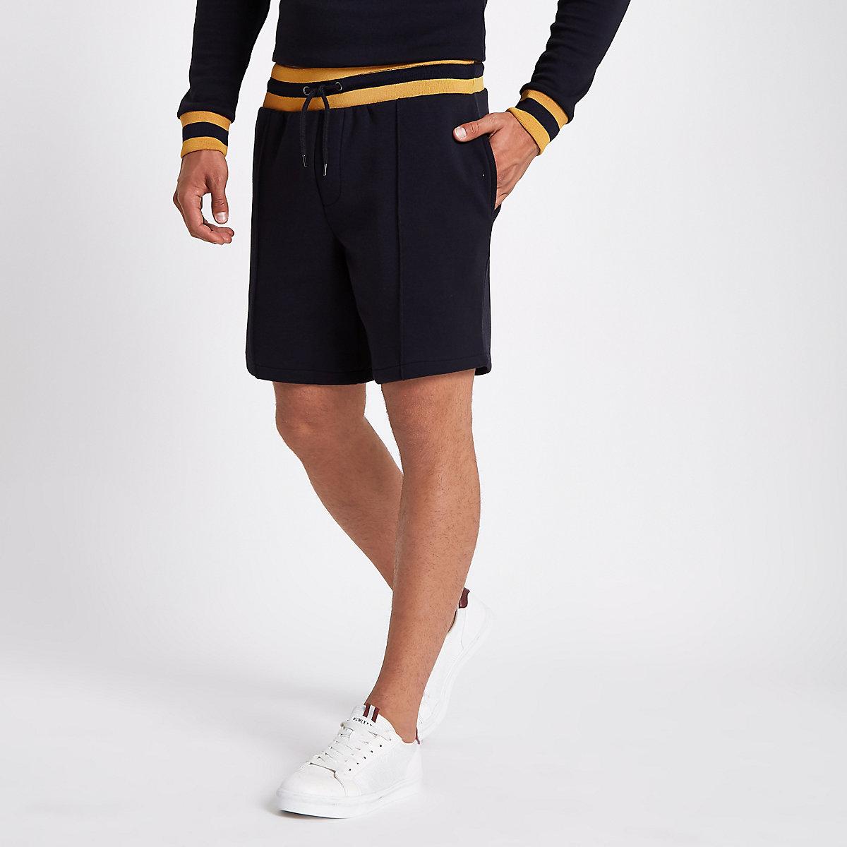 Navy slim fit jogger shorts