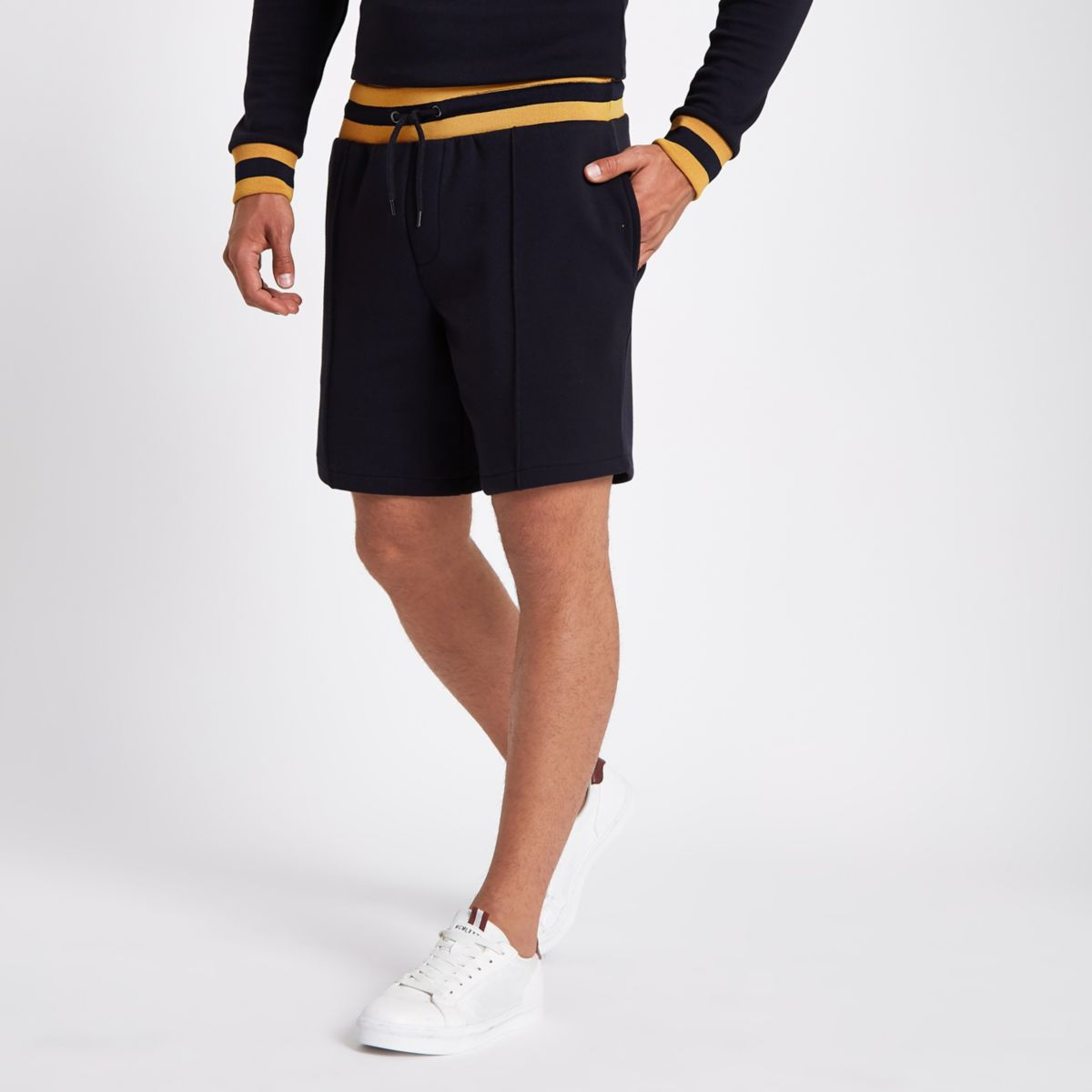 Navy slim fit jogger shorts