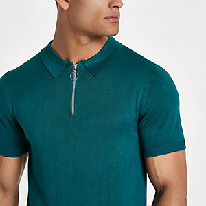 Green zip slim fit polo shirt