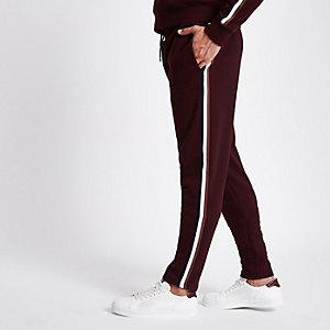 Bordeauxrode slim-fit joggingbroek met band op de zijkant