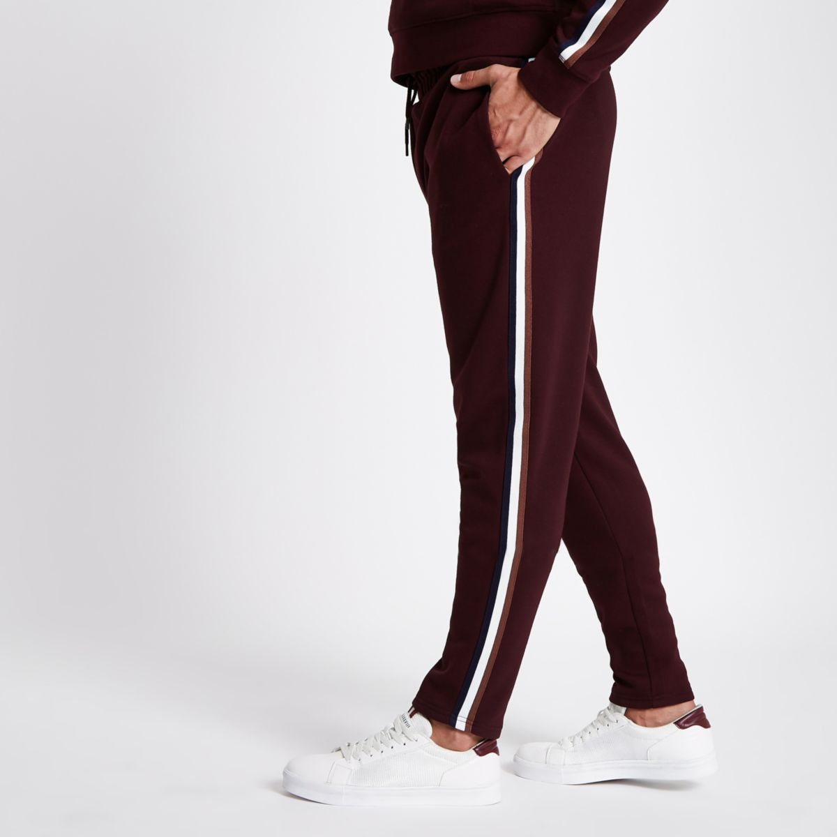 Burgundy side tape slim fit joggers