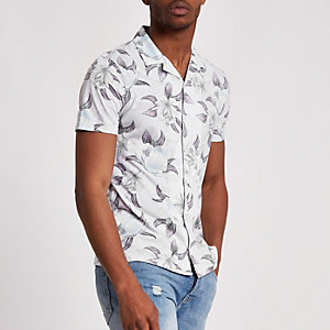 Ecru slim-fit overhemd met bloemenprint