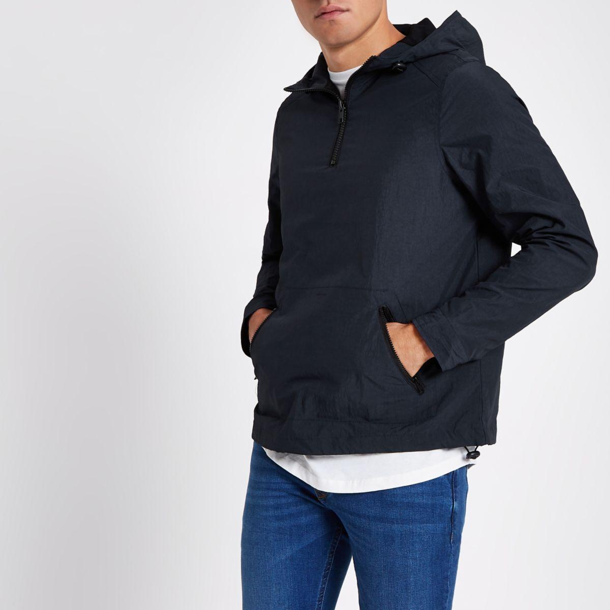 Navy half zip front hooded jacket