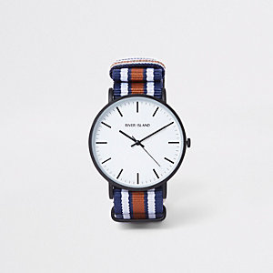 Navy striped fabric strap round watch