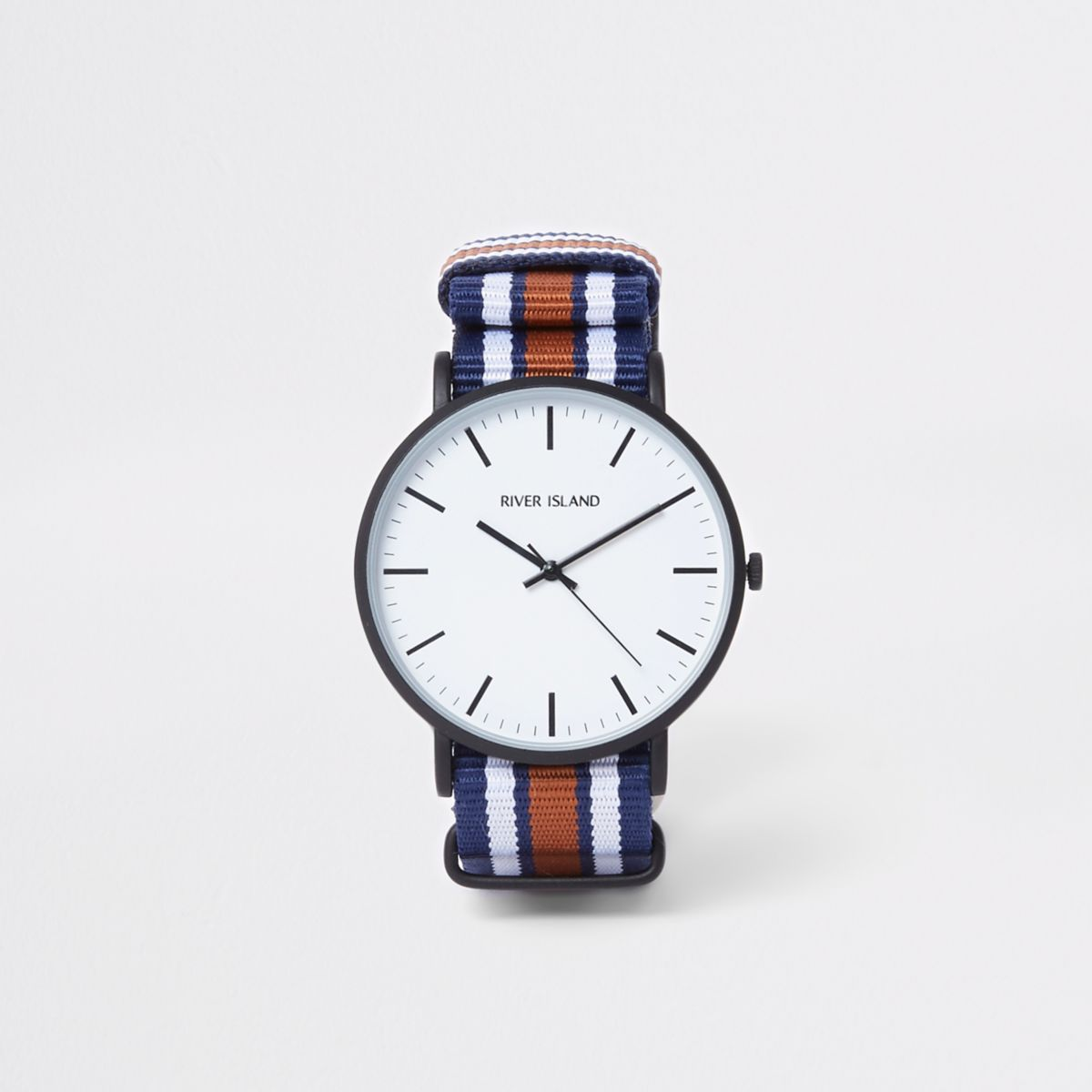 Marineblaue, runde Armbanduhr mit gestreiftem Stoffband