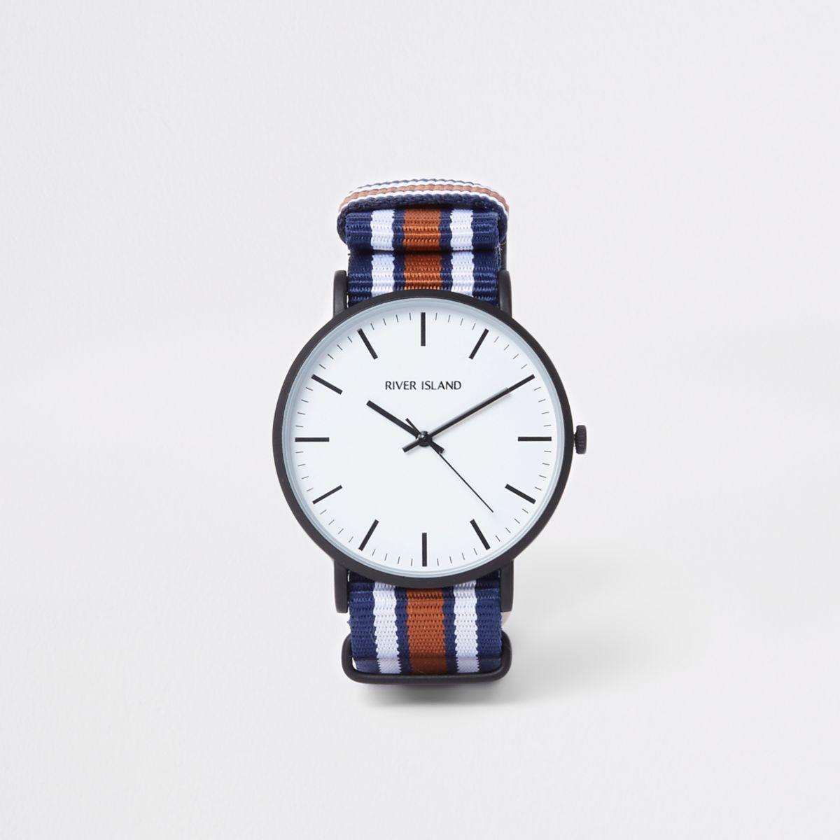 Navy striped fabric strap round watch