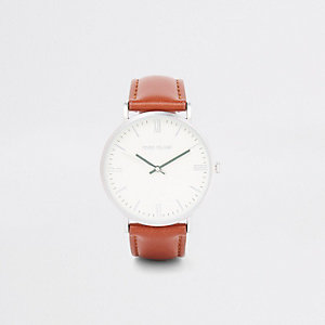 Tan round minimal watch