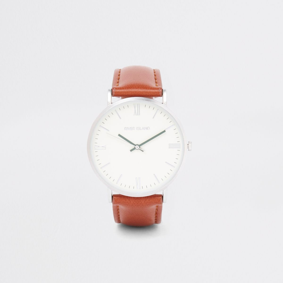 Tan round minimal watch