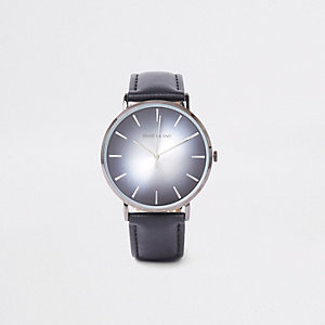 Black round minimal watch