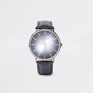 Montre minimaliste noire à cadran rond