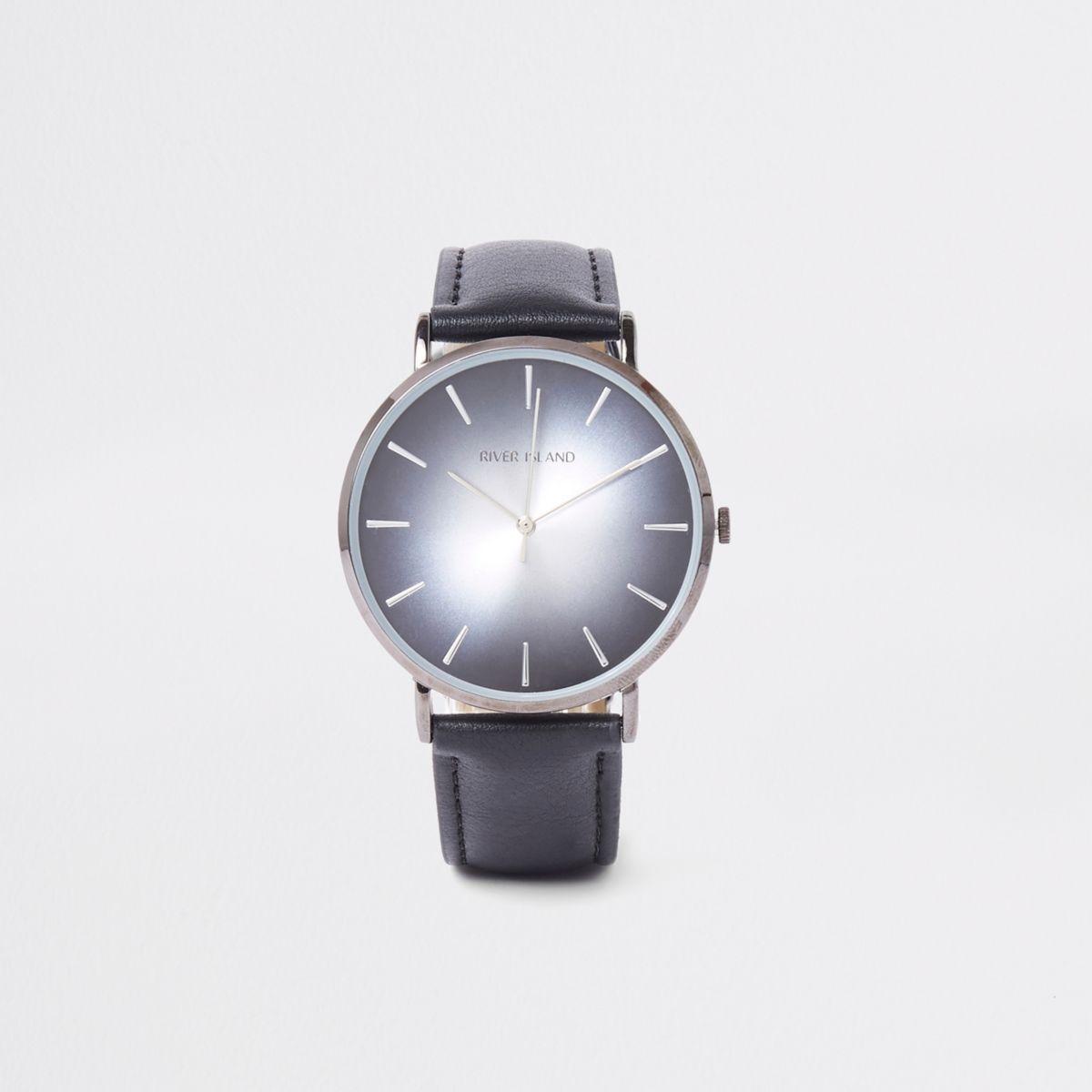 Black round minimal watch