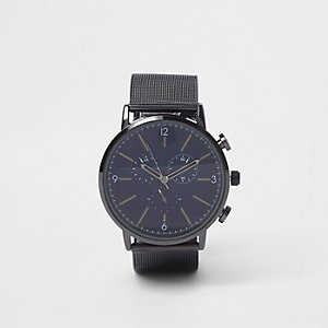 Black mesh strap round watch