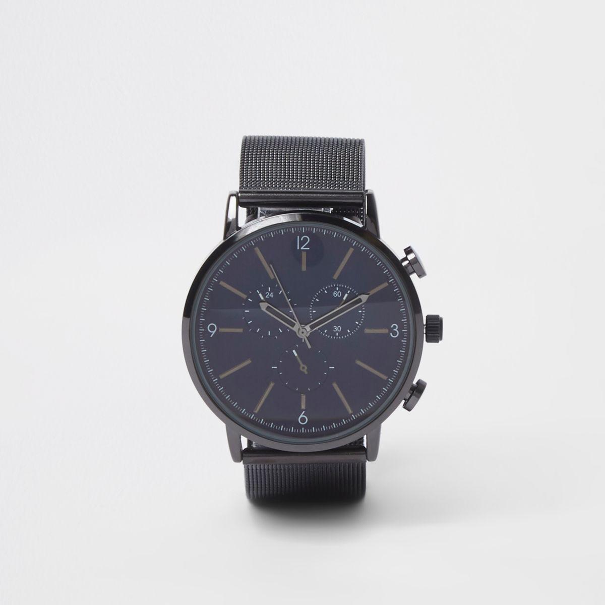 Black mesh strap round watch