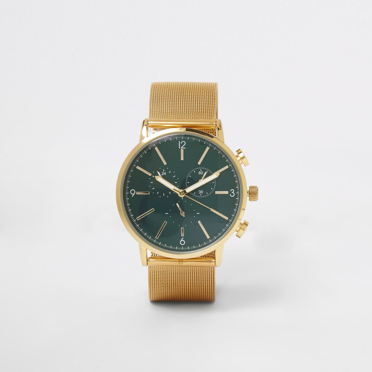 Gold tone mesh strap round face watch