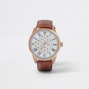 Tan and rose gold tone round watch
