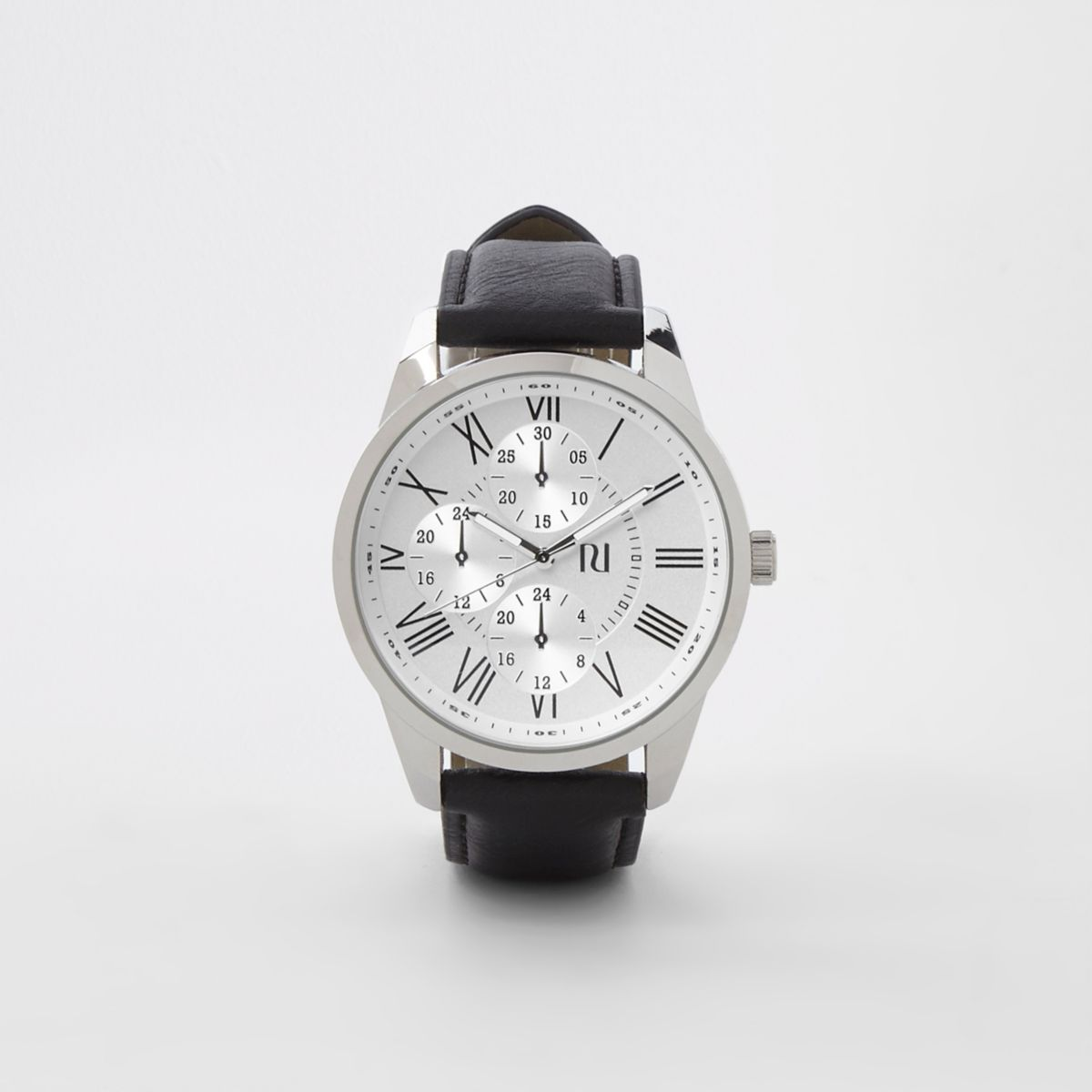Black and silver tone round watch
