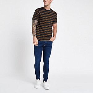 T-shirt rayé bleu marine à col ras-du-cou
