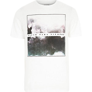 White graphic box print slim fit T-shirt