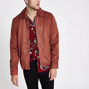 Rust faux suede harrington jacket
