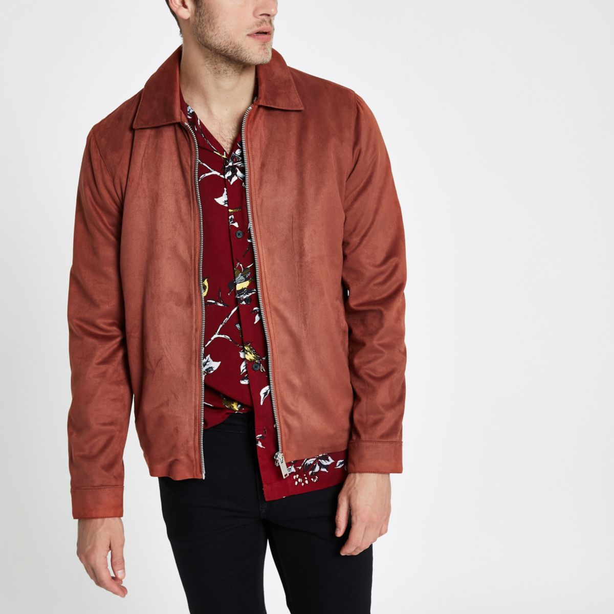 Rust faux suede harrington jacket