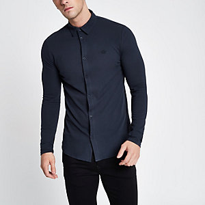 Navy pique muscle fit long sleeve shirt