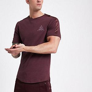 Concept - Bordeauxrood slim-fit T-shirt met 'MCMLX'-print