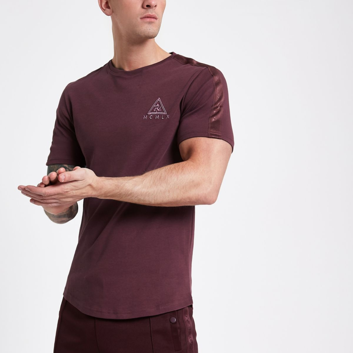 Concept burgundy 'MCMLX' slim fit T-shirt