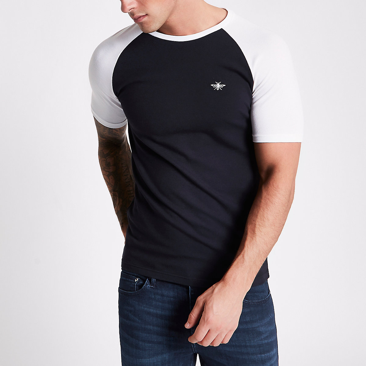 Navy pique muscle fit raglan T-shirt