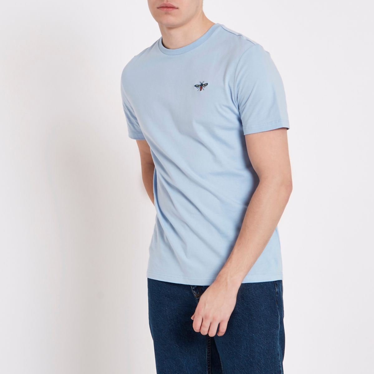 Blue slim fit wasp embroidery T-shirt