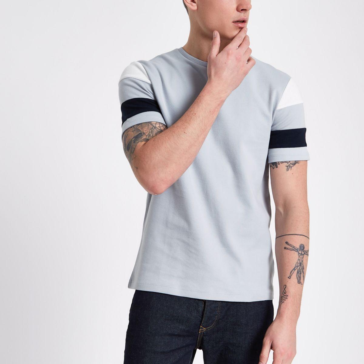 Grey short stripe sleeve slim fit T-shirt
