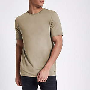 Tan slim fit crew neck T-shirt