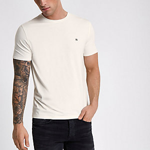 Ecru slim-fit T-shirt met ronde hals en RI-logo