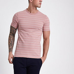 Pinkes, gestreiftes Muscle Fit T-Shirt