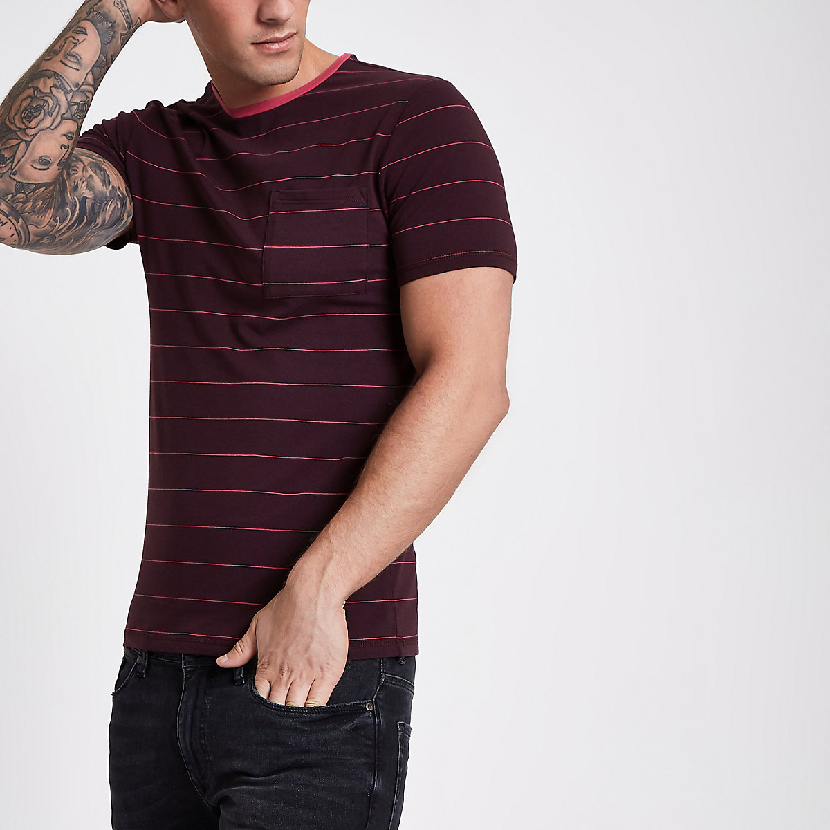 Berry red stripe muscle fit pocket T-shirt
