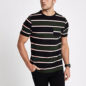 Dark green striped muscle fit  T-shirt