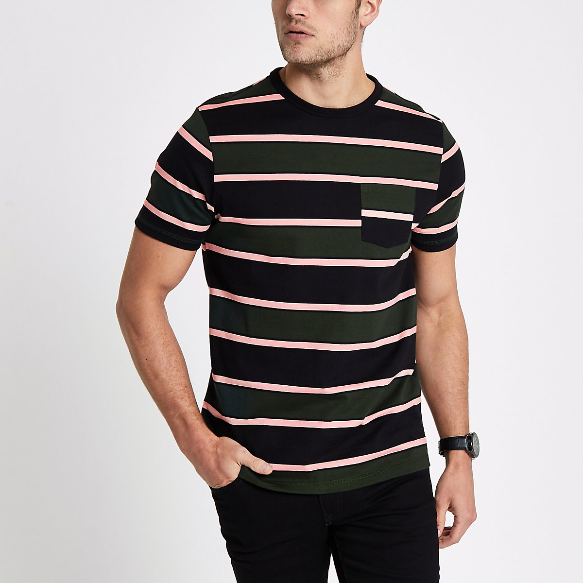 Dark green striped muscle fit  T-shirt