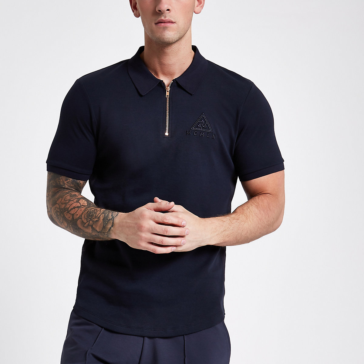 Concept navy muscle fit zip front polo shirt